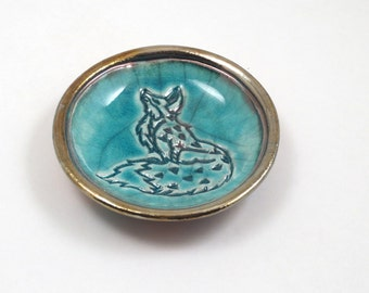 FOX Bowl Handmade Ceramic Raku Pottery NEW