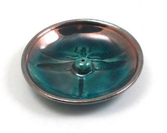Incense Burner Dragonflies Raku Handmade Pottery