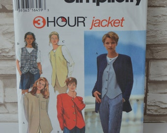 REDUCED - Misses Jackets & Vests - Simplicity UNCUT 9361 Pattern in a Size H (6, 8, 10) See shop Announcement for 60% off code
