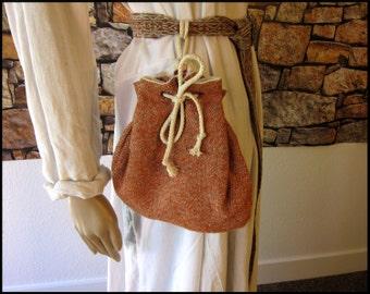 Orange Wool Medieval Drawstring Purse