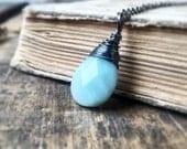 Sky Blue Amazonite Gemstone Necklace, Black Gunmetal Necklace, Beach Necklace, Gemstone Pendant Necklace, Black Layering, Free Shipping