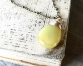 Yellow Peruvian Opal Necklace, gold Necklace, Natural Stone Pendant, Opal Gemstone Necklace, October Birthstone Jewelry