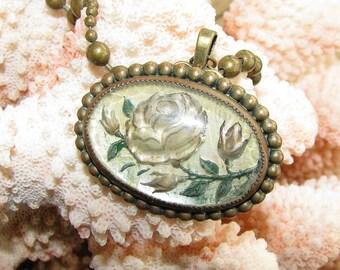 Antique Goofus/Intaglio Glass  Rose Portrait Repurposed