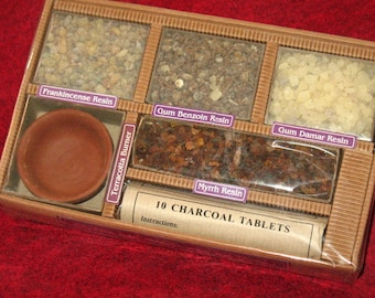 Resin Incense Gift Package with Coals and Censor~Ritual Supply~Altar Tools