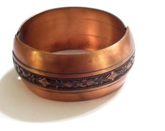 Whiting Davis Bracelet, Art Deco Vintage Copper Bracelet, Wide Copper Bangle, Vintage WHITING DAVIS Bangle, Whiting Davis Copper Bracelet