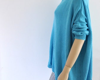 Blue Sweater, Loose Knit Sweater, Women's Sweater, Chunky Knit Sweater, Oversized Sweater, Cotton Sweater, Women's Clothing, Turquoise, Aqua