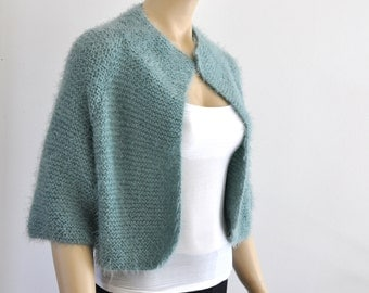 Half Sleeve Wedding Jacket, Green Bridal Bolero, Bridal Jacket, Shrug Bolero, Bridal Cover Up, Hand Knitted, Limpet Shell
