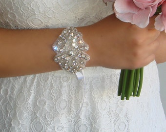 Bridal Jewelry, Weddings, Bracelet, Rhinestone Cuff,  Wedding Jewelry,  Wedding Bracelet, Bridal Accessories, Rhinestone Bracelet, NATALIA