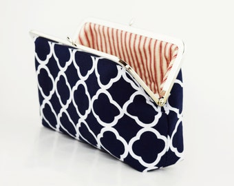 Navy Blue Clutch, Navy Wedding Clutch, Wedding Purse, Red Stripes, Bed Ticking, Bridesmaids Gifts, Day Bag Wallet, Personalized Gift