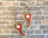 CLEARANCE SALE Red Shoe Earrings, Sneakers, High Tops, Gift Ideas