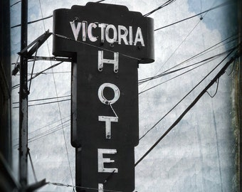 "Dark neon sign rustic architecture photography black white urban industrial gothic - ""Victoria hotel""  8 x 10"