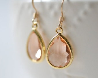 Bridesmaid Jewelry Set of 6 Peach Champagne Teardrop Earrings in Gold