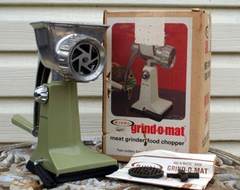 1970's Rival Grin O Mat Meat Grinder and Food Chopper Model 303 / Avocado
