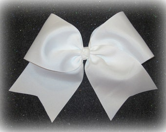 Cheer Bows, Girls Cheer Bows, White Cheer Bow, Softball Bows, Girls Big Hairbows, Team Bows, Dance Bows, Cheerleader Hair Bows, 7 inch bows