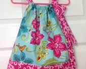 READY TO SHIP - Vibrant Floral Pillowcase Dress Size 6 months