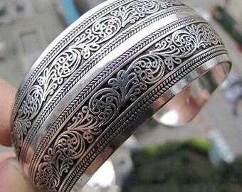 Chinese Tibetan Silver BOHO Gypsy Scrollwork Bangle Cuff Bracelet