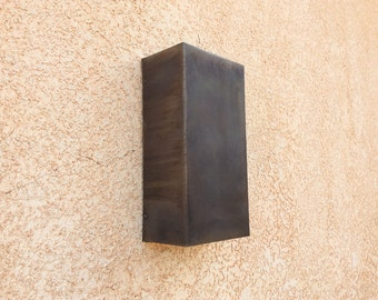 "Patinaed Steel Sconce //  6'' x 12"" x 4"" Rectangle // Light Sconce"