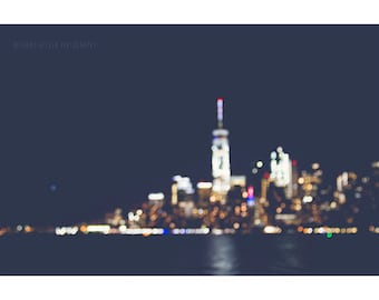 NYC At Night Photography Bokeh Skyline Cityscape Landscape Blurry Lights New York City Skyline Manhattan Urban