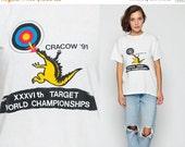 ON SALE Graphic Tee Shirt Vintage Archery TARGET Championship Sports Dragon 80s Tshirt Krakow Paper Thin Retro T Shirt Print Medium