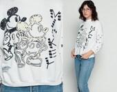 Mickey Mouse Sweatshirt Disney Sweater 80s Grunge Shirt Cartoon Graphic Black White Print 1980s Vintage Hipster White Medium