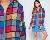 Flannel Shirt 80s Plaid Shirt Checkered Shirt 90s Grunge Rainbow Cotton Knit 1980s Vintage Button Down up Lumberjack Long Sleeve Blue Small