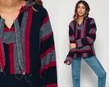 Drug Rug Hoodie Jacket MEXICAN Jerga Hippie Boho Hooded Sweatshirt Ethnic Vintage Blanket Stripe Bohemian Kangaroo Red Navy Blue Large
