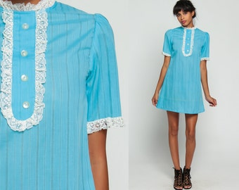 Puff Sleeve Dress 60s Mod Mini LACE Party Boho Lolita Shift Dolly Vintage Baby Blue 1960s Bohemian 70s Pastel Bib Striped Extra Small xxs
