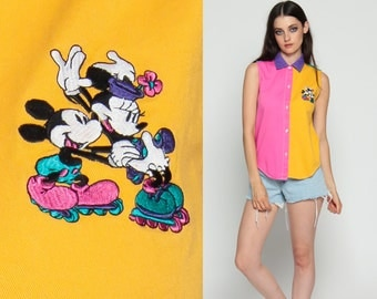 Mickey Mouse Shirt MINNIE Mouse Button Up Neon 90s Vintage Disney Top Blouse Color Block Print Cartoon 80s Sleeveless Purple Pink Small xs