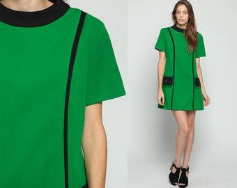 Space Age Dress Mod Mini 60s Shift Stewardess Striped 70s POCKET Polyester Vintage 1960s Green Navy Blue Short Sleeve Large