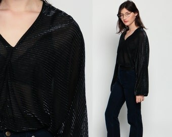 Metallic Blouse Sheer Shirt Black Silver V Neck DRAPE Striped Dolman Sleeve 80s Sheer Disco Top 70s Vintage Crop Hipster Party Small Medium