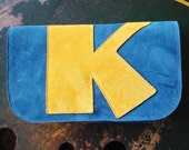 NEW! Teal Green & Mustard Letter Clutch