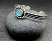 Rose Cut Chalcedony and Sterling Silver Textured Cuff Bracelet