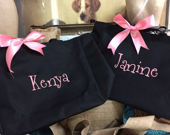 Personalized Bridesmaid Gift Tote Bags, Monogrammed Tote,  set of 11