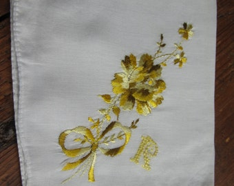 """White Handkerchief with Yellow """"R"""" Monogram and Yellow Floral Embroidery"""