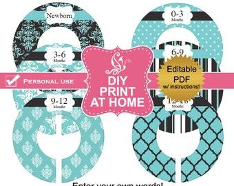 DIY editable printable closet dividers PDF clothes organizers blue black Baby Girl or Adult Digital File (No.6)