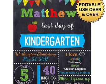 DIY editable printable Last day of school ANY grade Boys chalkboard poster Instant download sign Digital File PDF 16x20 or 8x10