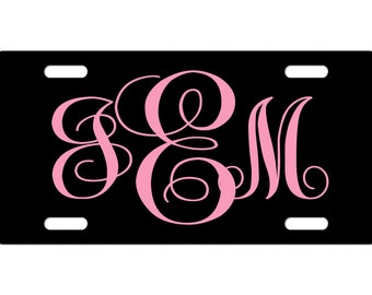 Custom Monogram License Plate Black or Custom Colors With Initials Personalized License Plate