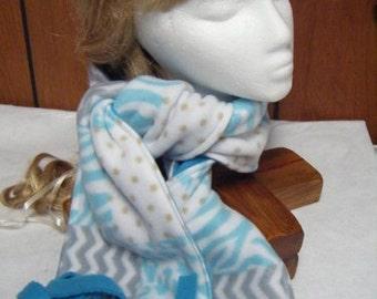 Fleece Scarf and Cow Neck Collar in Checker print