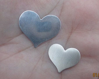 "Sterling Silver Large Heart or Medium Heart Blank - One Inch,or 3/4""(one,two, or three quantity )"