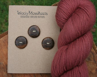 3 Black Walnut Wood Buttons- Handmade Wooden Buttons- Eco Knitting Supplies, Eco Craft Supplies