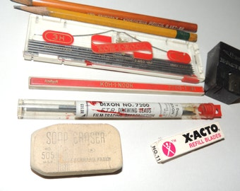 Assortment of Mid Century Drawing supplies