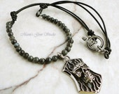 Mens Necklace, Blue Labradorite Stone, Black Leather, Stainless Steel Skull Tag Pendant