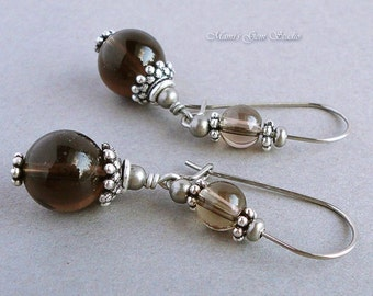 Smoky Quartz Gemstone Earrings, Hypoallergenic Stainless Steel Kidney Earwires
