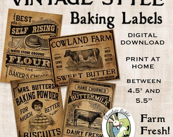 Vintage Kitchen Baking Labels Prim Primitive Digital Download Printable Tags Scrapbook Fabric Transfer Graphics Sheet Clip Art Images