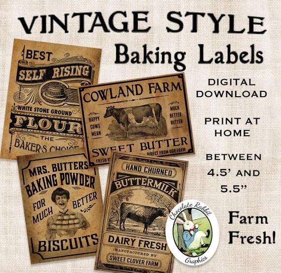 Vintage Kitchen Baking Labels Prim Primitive Digital Download