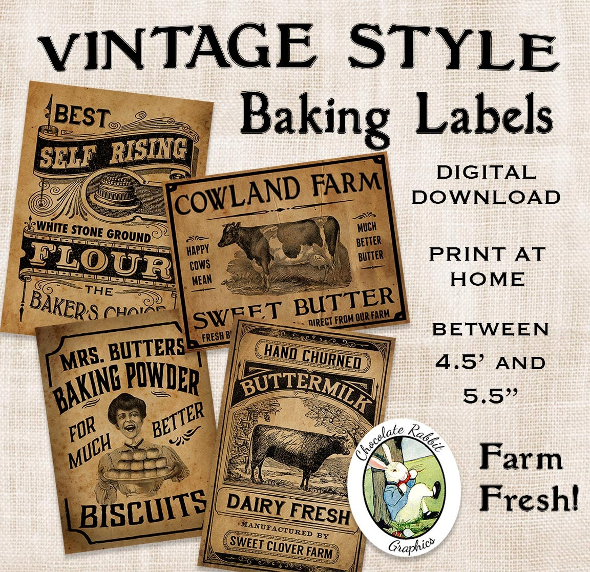 Vintage Kitchen Baking Labels Prim Primitive Digital Download