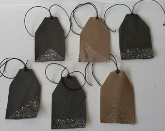 Scrap Leather Tags Glittered Gift Tags Luggage Tags