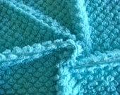 Aqua  Pops Vintage Chenille Bedspread Fabric 18 x 24 Inches