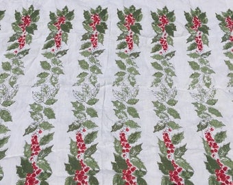 Christmas tablecloth vintage Holly with berries 1960s