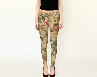 Japan Sky (Old Bird Paint) - Leggings - Yoga Pants - Death's Amore Clothing - From XS to XL